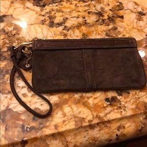 Dark brown beaded wristlet- cloth